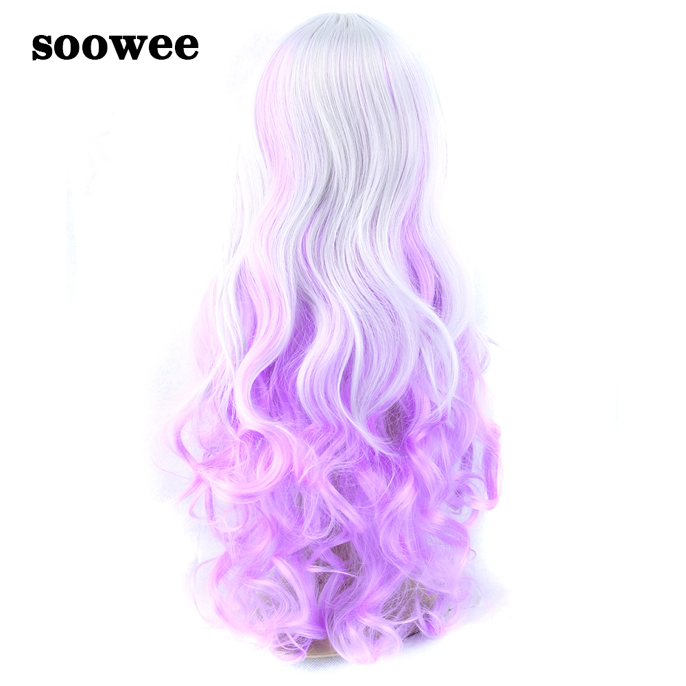 Soowee 28inch Long Curly Synthetic Hair Wigs For Women High Temperature Fiber Party Hair White Pink Rainbow Color Cosplay Wig