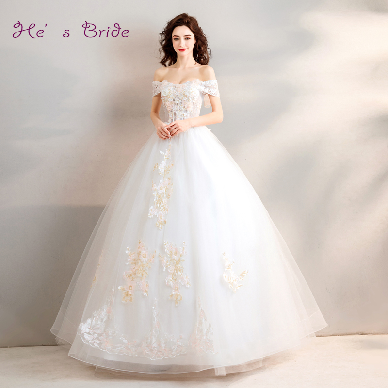 He's Bride Wedding Dress Elegant White Boat Neck Off The