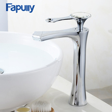 Fapully Elegant Bathroom Basin Gold Faucet Brass With Diamond Crystal Luxury Single Handle Hot And Cold Tap Tall Mixer 553