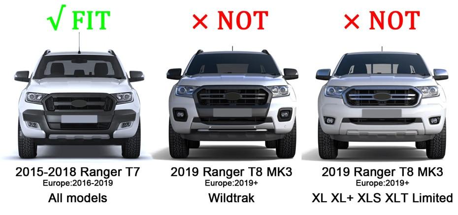 FORD RANGER  MK2 FULL  WILDTRAK XLT XL 2015-2018 GRILL WHITE LEDs //BLACK// GREY