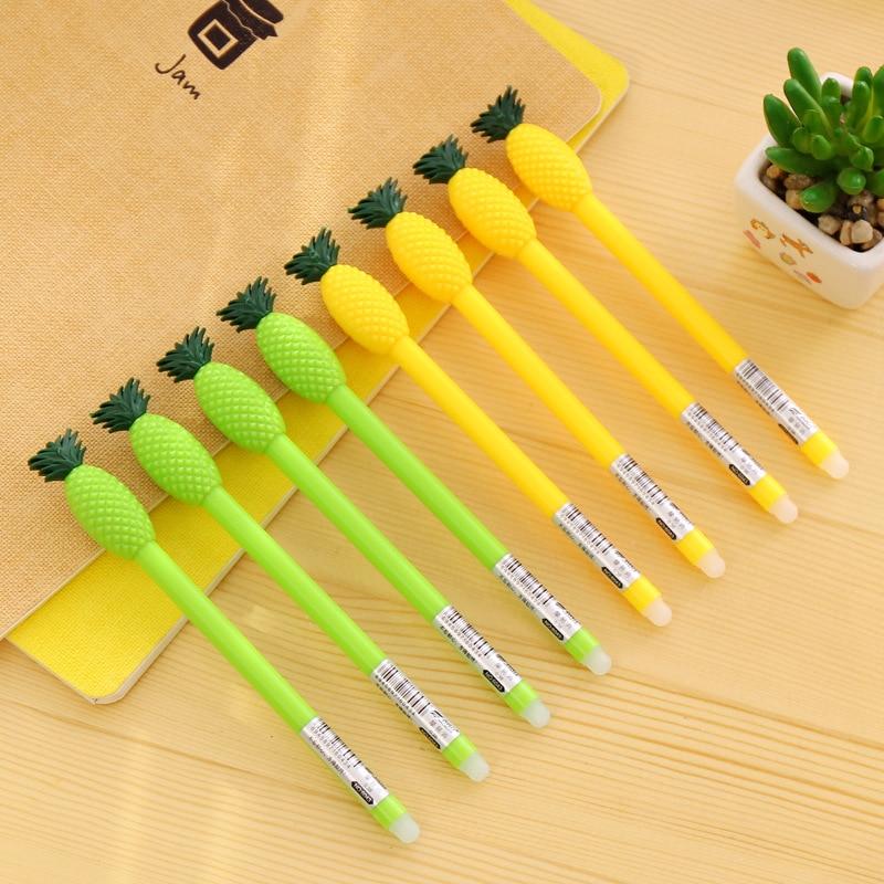 12 шт. Забавный ананас стираемая гель-ручка пользу дети с днем рождения вечерние питания подарок для маленьких девочек сувениры