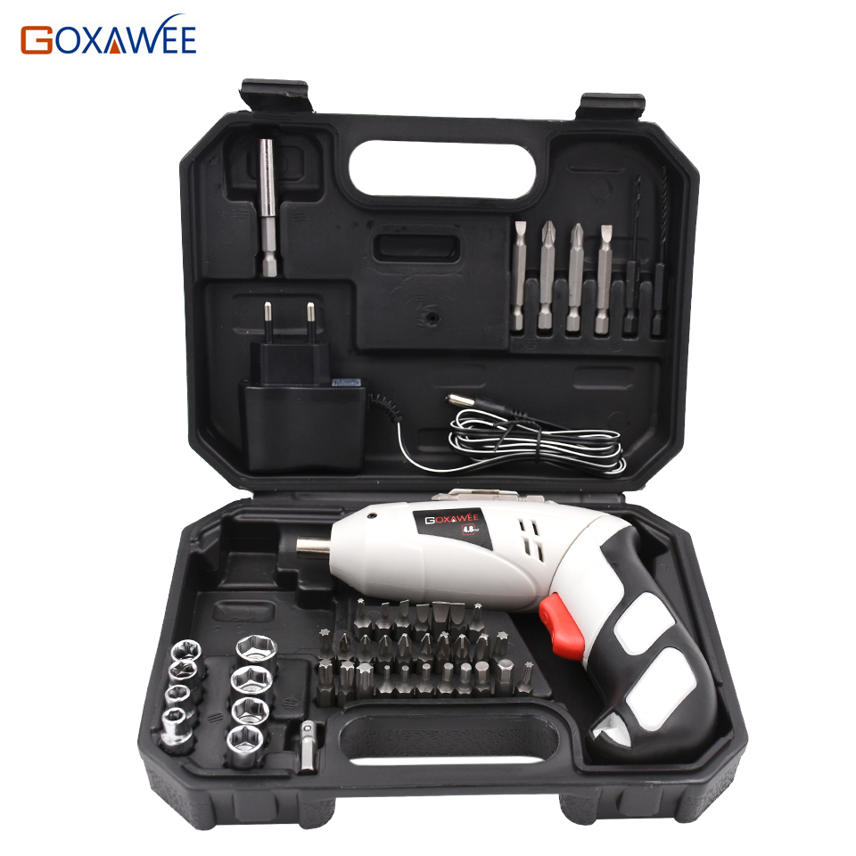 GOXAWEE 4.8V Mini Electric Screwdriver Drill Rechargeable Cordless Screwdrivers Lithium Battery Household DIY Tools Sets mini small cordless electric rechargeable screwdriver 4 8v 180rpm 20pcs screwdriver bits 3pcs drill for home use diy tools