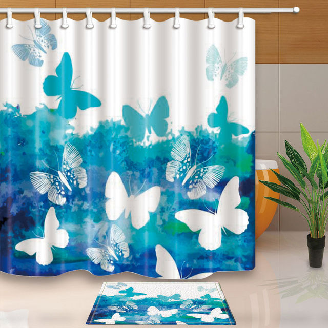 Butterfly Bathroom Decorative Waterproof Fabric Bathroom Shower Curtains  Sets WTS042