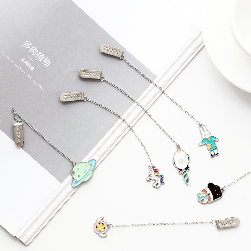 Plant Cat Planet Unicorn Magic Wand Sakura Metal Chain Pendant Bookmark Marker Of Page School Office Supply Student Stationery