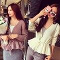 Primavera de 2016 novo scalloped cintura fina camisola de malha cardigan jaqueta curta mulheres