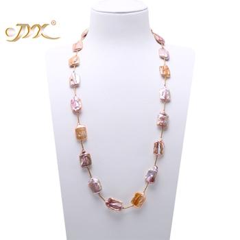 JYX Lange Perle Halskette Lavendel Barock Süßwasser Zuchtperlen Halskette Party Jewery Geschenk AAA
