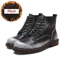 Plus Size 35-47 Genuine Leather Men Ankle Boots Vintage Lace Up High Top Shoes Fashion Winter Martin Boots Outdoor Casual Shoes