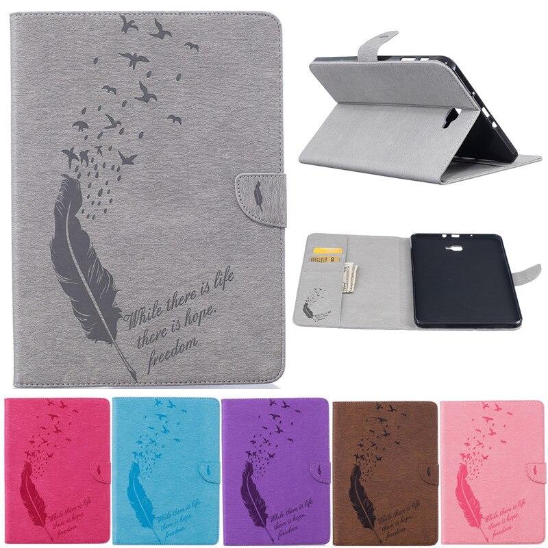 Pro Samsung Galaxy Tab A A6 10.1 2016 T585 T580 T580N kreslený pták peří PU kožený stojan kryt pouzdro tablet Fundas Coque
