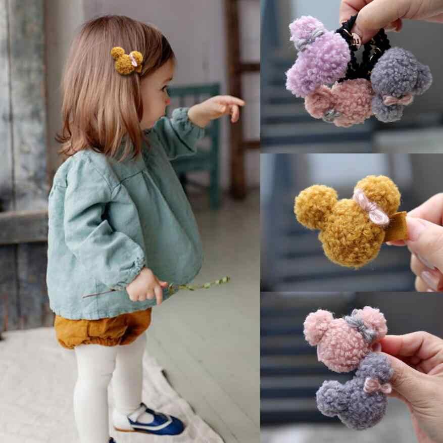 2/3/5 pçs/set bonito meninas pequena lã de cordeiro elástico cabelo bandas de borracha crianças urso grampos de cabelo crianças criança inverno acessórios de cabelo