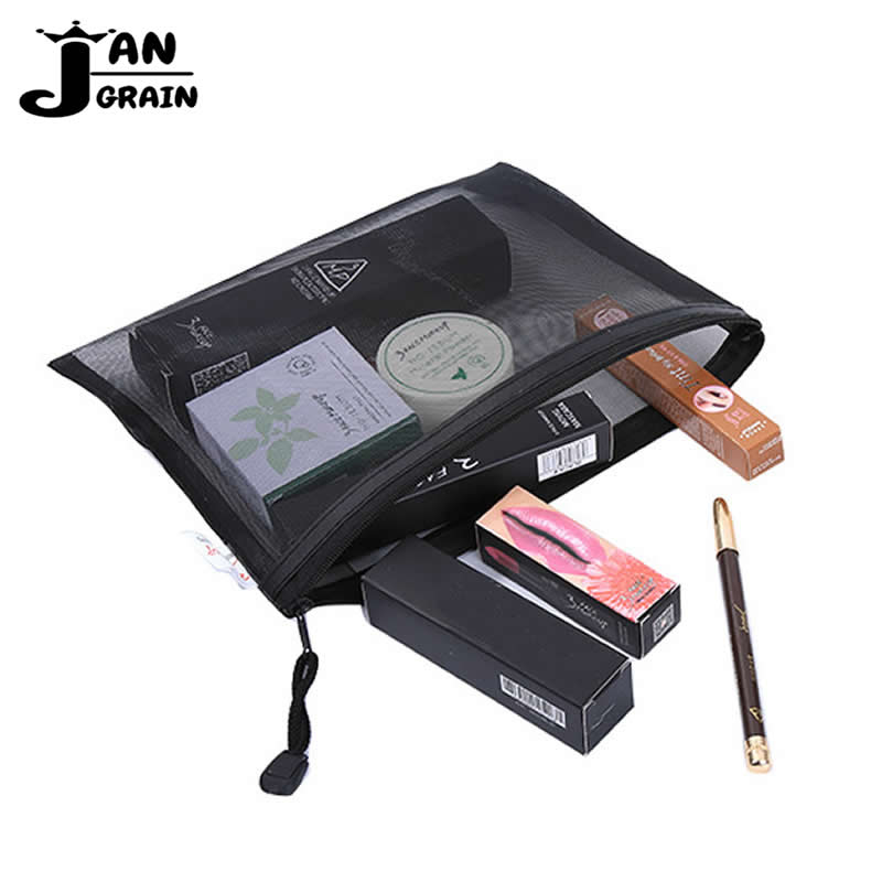Transparent Grid Cosmetic Bag Women Men Travel Makeup Bag Zipper Make Up Organizer Storage Pouch Toiletry Beauty Wash  Case
