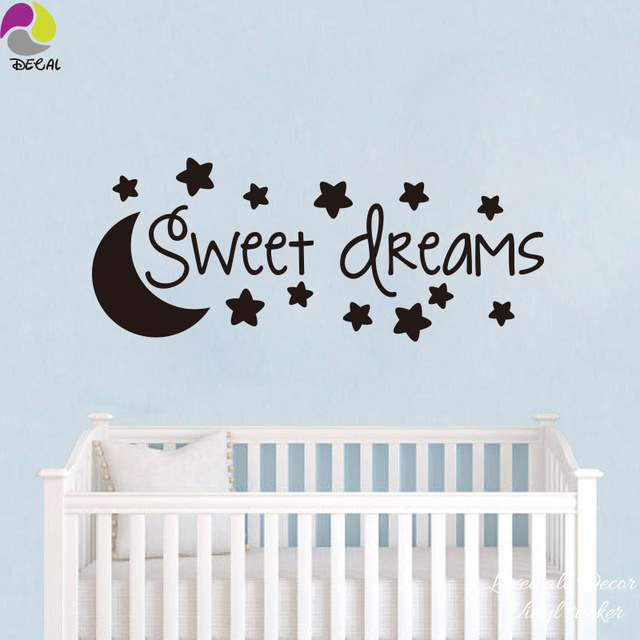 cartoon sweet dream star moon wall sticker baby nursery cute family
