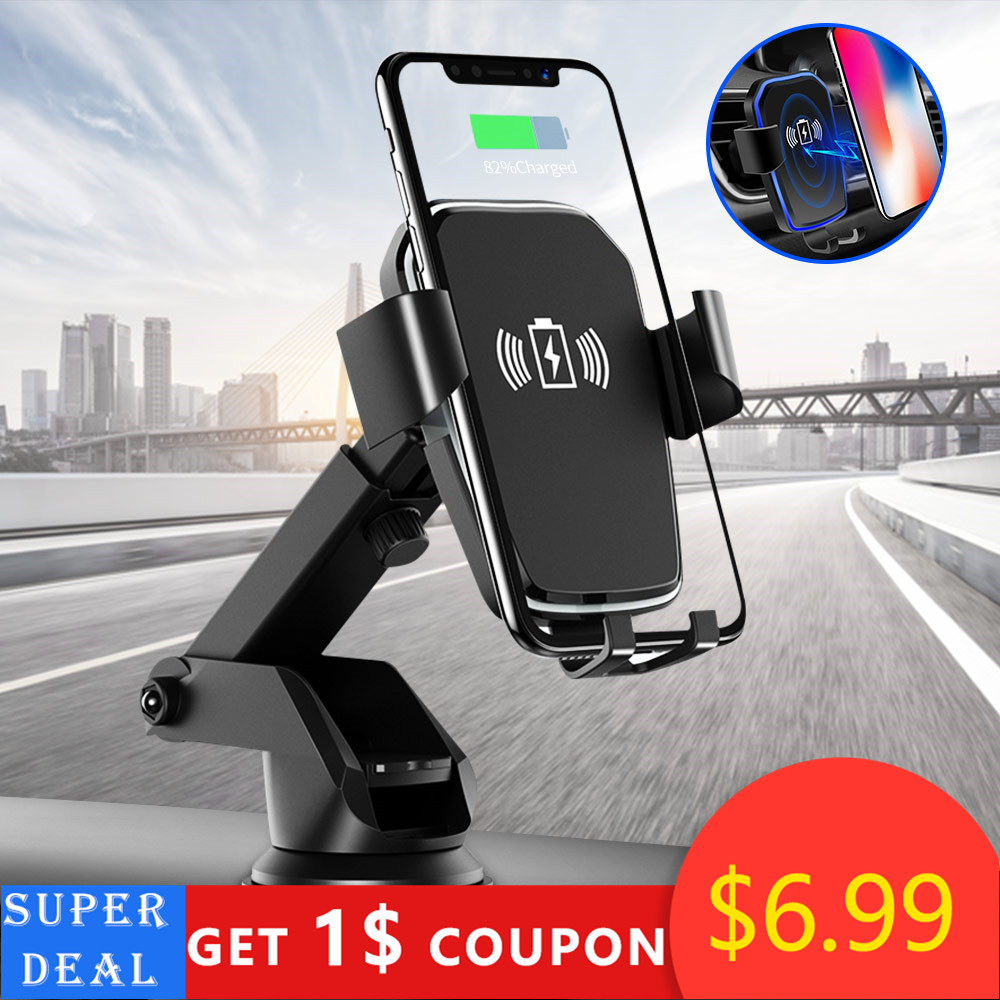 10W Qi Car Wireless Charger For Iphone Xr X Gravity Sucker Car Phone Holder Fast Charging For Samsung S10 S9 Adjustable Mount