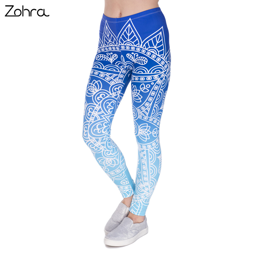 Zohra Hohe Qualität Frauen Legins Mandala Ombre Blau Druck Legging Mode Lässig Hohe Taille Frau Leggings