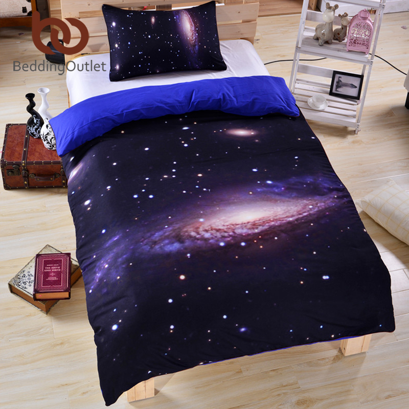 BeddingOutlet 3D Galaxy Bedding Set Earth Moon Print Gorgeous Unique Design Outer Space Quilt Cover Set with 2 Pillow Case