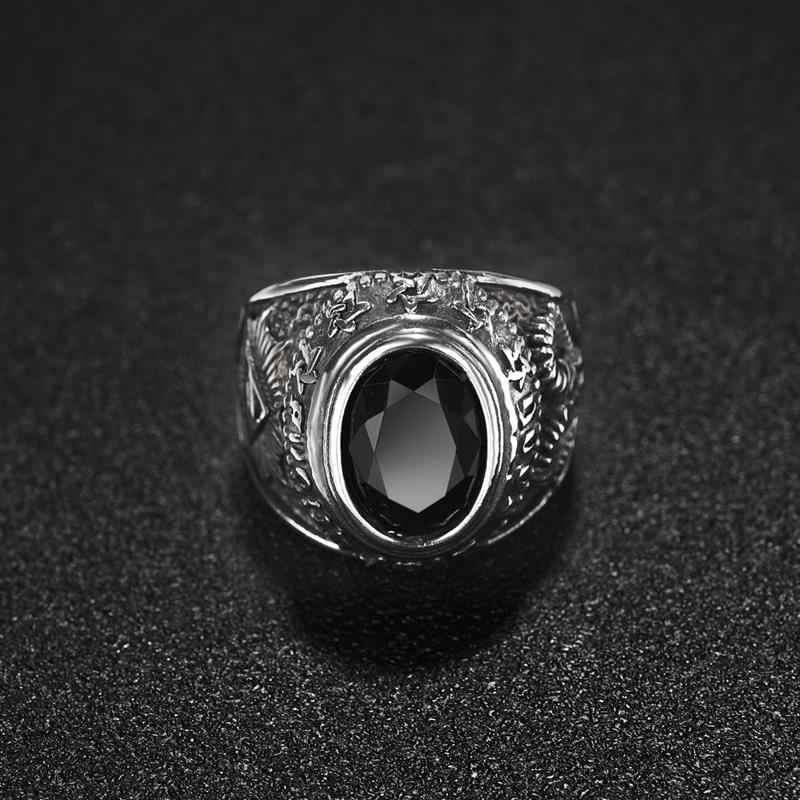 Jiayiqi Punk แหวนผู้ชายโกธิคสีดำรอบ CZ แหวนสแตนเลส Hip Hop VINTAGE Famale ชายเครื่องประดับเครื่องประดับขายส่ง