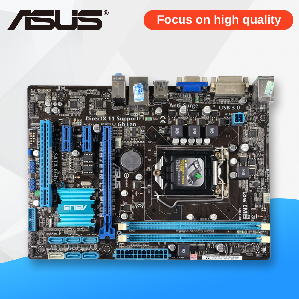 Asus P8B75-M LX PLUS Desktop Motherboard B75 Socket LGA 1155 i3 i5 i7 DDR3 16G SATA3 USB3.0 Micro ATX asus p8h61 plus desktop motherboard h61 socket lga 1155 i3 i5 i7 ddr3 16g uatx uefi bios original used mainboard on sale