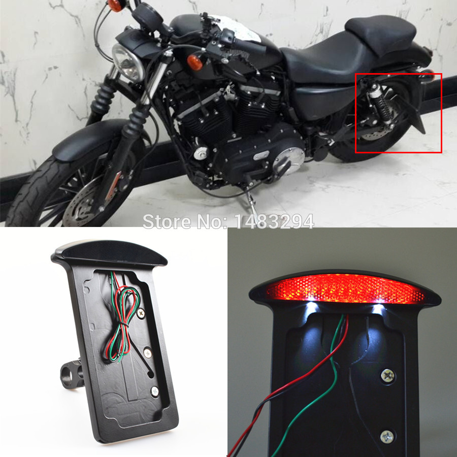 led smoke axle side mount license plate bracket frame holder tail light fits fits for harley sportster 883n 883r 883l 1200 xl 48 in license plate from - Harley Davidson License Plate Frame For Motorcycle