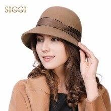 FANCET mujer 100% lana fieltro Cloche Fedora sombrero señoras Iglesia Derby fiesta moda invierno sombreros elegante cintura ajustable 99339