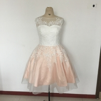 Ivory And Champagne Tulle Knee Length Vintage 50S Wedding Dresses Short Cap Sleeves Bow Sash Sleeveless
