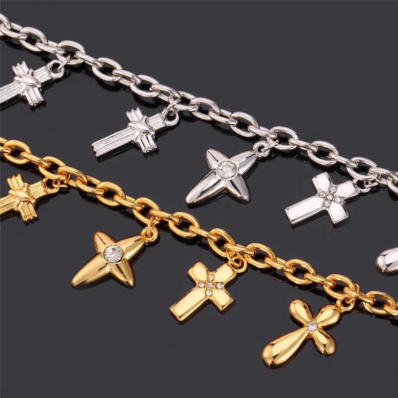 Cruz Charm Bracelet Cor Amarelo Ouro Austríaco Rhinestone Bangle Para Mulheres Moda Cristão Jóias MGC H5101