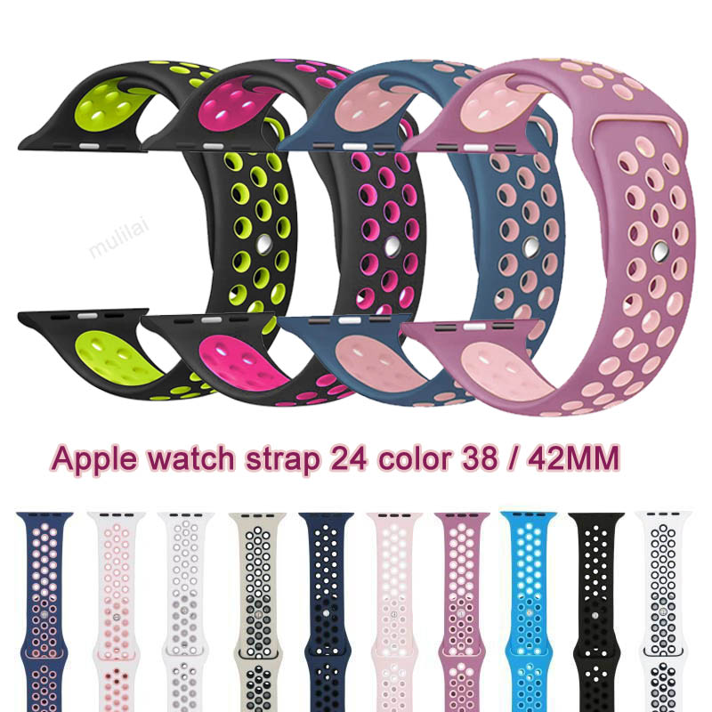 Soft Silicone Sport Band For Apple Watch Series 2 Replacement Strap for Apple iWatch Nike Sport Band Brand Luxury Watchs strap 38mm 42mm soft silicone sport strap for apple watch series 1 2 light flexible breathable replacement band watch strap for iwatch
