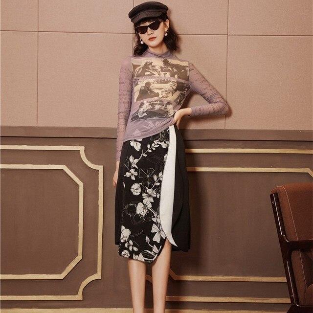 Cheerart Long Sleeve Mesh Top Women Turtleneck See Through Letter Printed Tshirt Transparent Top Purple Graphic T Shirts Fashion 5