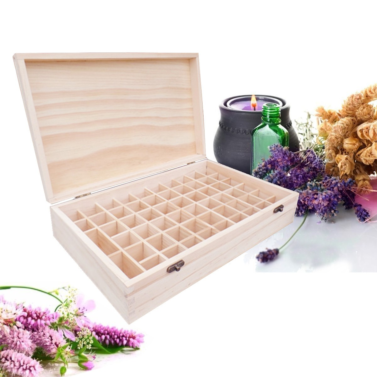 Wooden Essential Oils Storage Box 58 Holes Aromatherapy Natural Pine Wood Handmade Without Paint Accessories