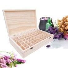 Holz Ätherische Öle Aufbewahrungsbox 58 Löcher Aromatherapie Natürliche Kiefernholz Handgefertigten Ohne Farbe Zubehör