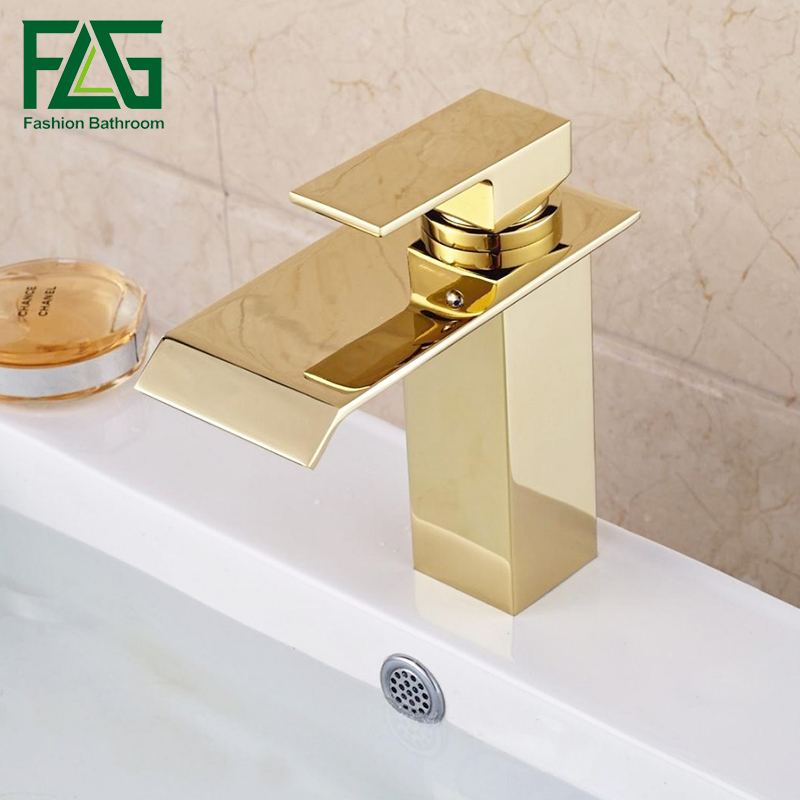 Contemporary bathroom Gold faucet soild copper waterfall faucets single handle single hole wash basin tap mixer copper infrared intelligent automatic induction type single tap faucet wash