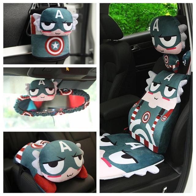 1pc Captain America hero vehicle-mounted plush pillow safety belt cover rearview mirror cover paper towel tissue box stuffed toy
