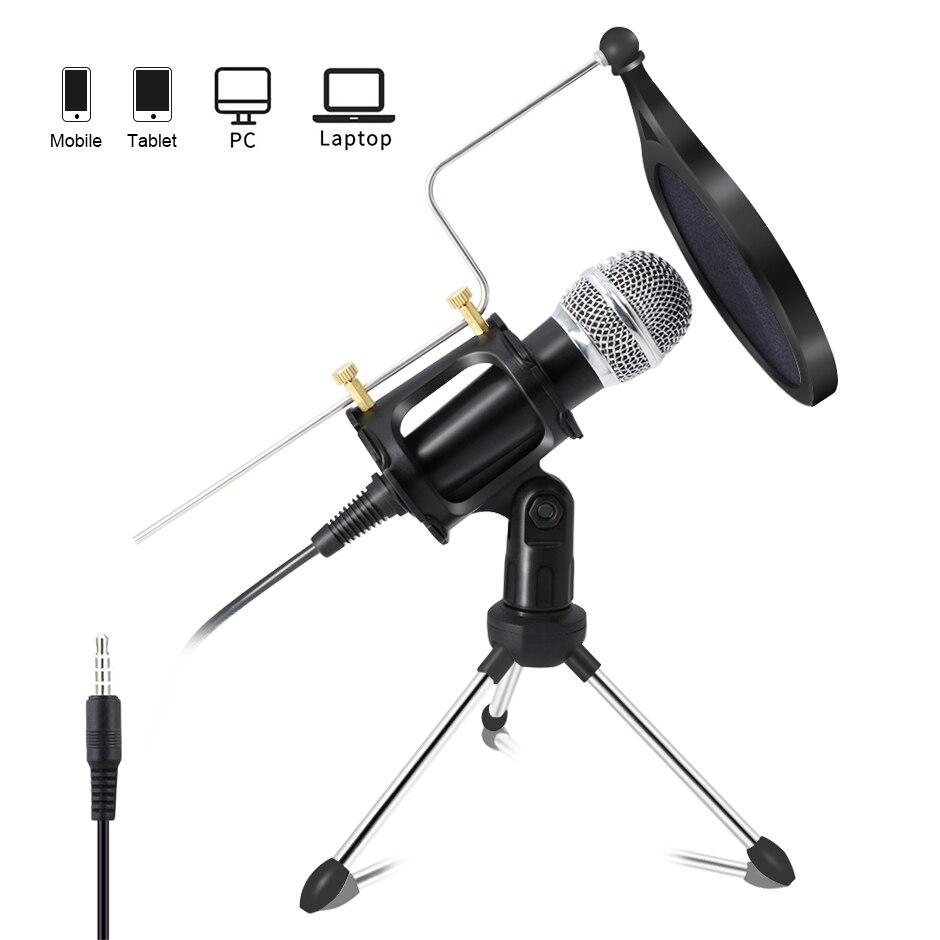 Microfone condensador lecon para computador pc + suporte para o telefone móvel android 3.5mm jack microfone karaoke mic registro