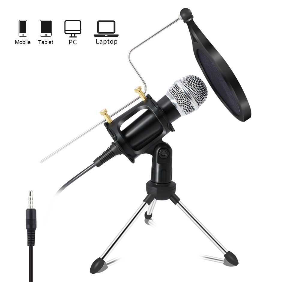 Lefon Professional Condenser Microphone For Computer PC +Stand For Mobile Phone Android 3.5mm Jack Microfone Karaoke Mic Record