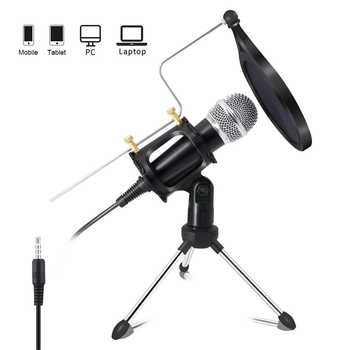 Lefon microfone condensador para celular, microfone para telefone móvel com gravação, 3.5mm jack, para computador, pc, karaoquê, iphone e android