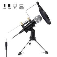 Micrófono condensador de grabación Lefon, micrófono para teléfono móvil, microfono Jack de 3,5mm para computadora, PC, micrófono de Karaoke para iphone Android