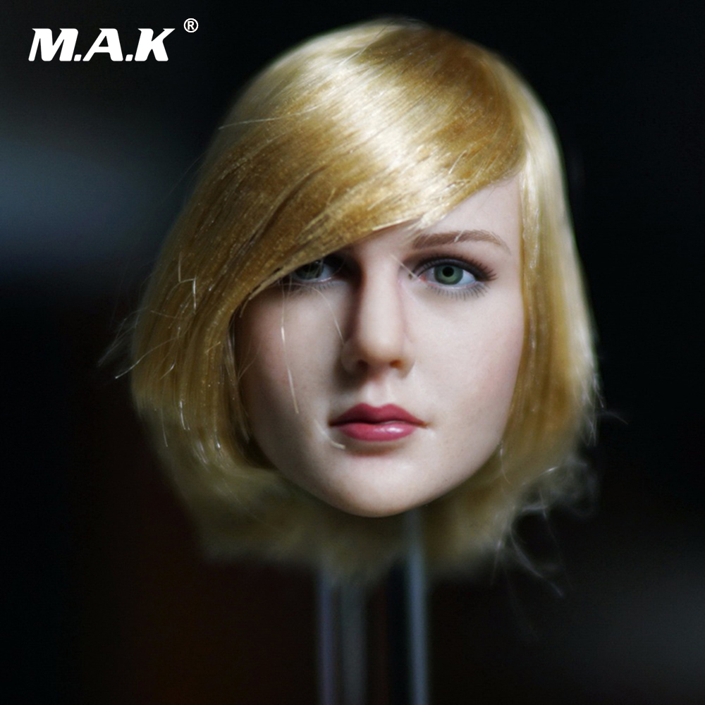 1/6 Scale Blond Short Hair Female Head Sculpt European Head Carved Model for 12 Inches Action Figure Body 1 6 scale european male head sculpt model headplay without neck for 12 action figure body figure