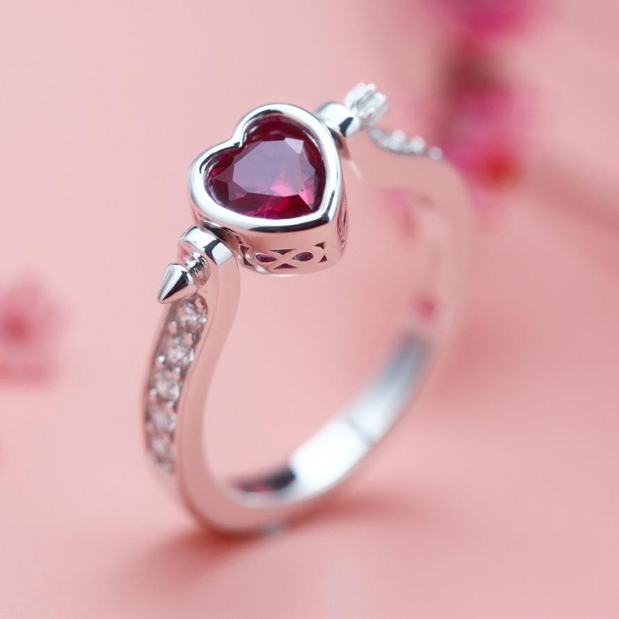 GEMIXI Fashion Lady Zirconium Ring Cupid Arrow Heart Shaped wedding ...