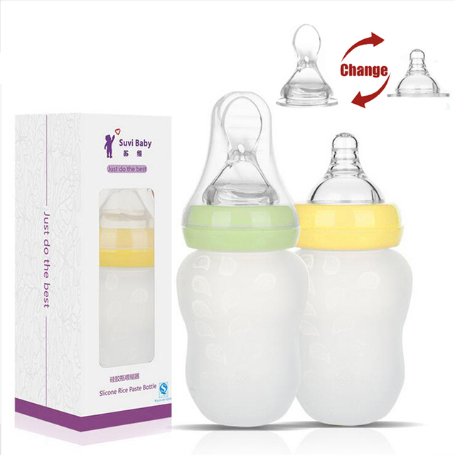 180ML Baby Bottle and Silicone Feeding Spoon