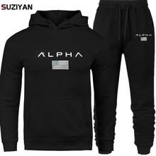 Мужские комплекты с принтом Alpha Sweatsuit Спортивный костюм 2019 бренд спортивный костюм спортивны