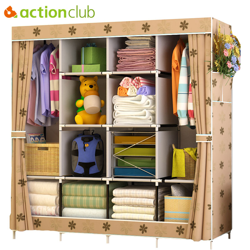 Actionclub Multi-function Wardrobe Fabric Folding Cloth Storage Cabinet DIY Assembly Easy Install Reinforcement Wardrobe ClosetActionclub Multi-function Wardrobe Fabric Folding Cloth Storage Cabinet DIY Assembly Easy Install Reinforcement Wardrobe Closet