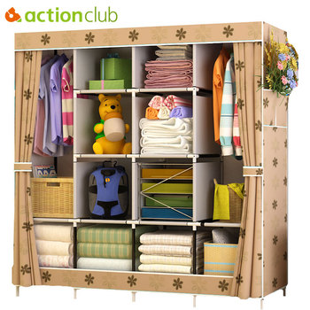 Actionclub Multi-function Wardrobe Fabric Folding Cloth Storage Cabinet DIY Assembly Easy Install Reinforcement Wardrobe Closet