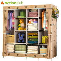 Actionclub Multi function Wardrobe Fabric Folding Cloth Storage Cabinet DIY Assembly Easy Install Reinforcement Wardrobe Closet