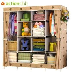Actionclub multi-função guarda-roupa tecido dobrável pano armário de armazenamento diy montagem fácil instalar reforço guarda-roupa armário