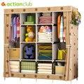 Armario de tela de armario multifunción Actionclub armario de almacenamiento de tela plegable montaje de bricolaje armario de refuerzo de fácil instalación