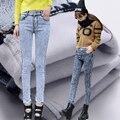 2016 calças de Brim Quentes Para Mulheres Lavagem De Neve Engrossar Calças Lápis Calças de Brim de inverno Feminino Estiramento Moda Jeans de Cintura Alta Calças De Brim Femme calças