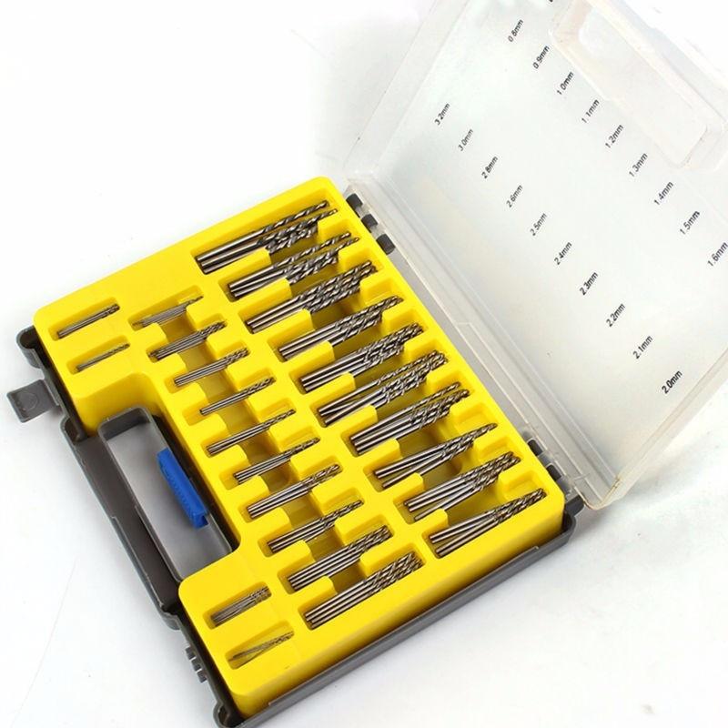 HILDA 150Pcs 0.4-3.2mm Mini Drill Bit Set Power Rotary Micro Twist Precision Drill Bit Set Mini Tool Kit with Case Plastic Box 80pcs electric rotary drill grinder polish sanding tool set kit dremel bit case with box