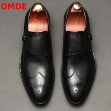 OMDE British Style Brogue Carving Genuine Leather Bussiness Formal Men Shoes Fashion Office With Buckles Dress Loafers