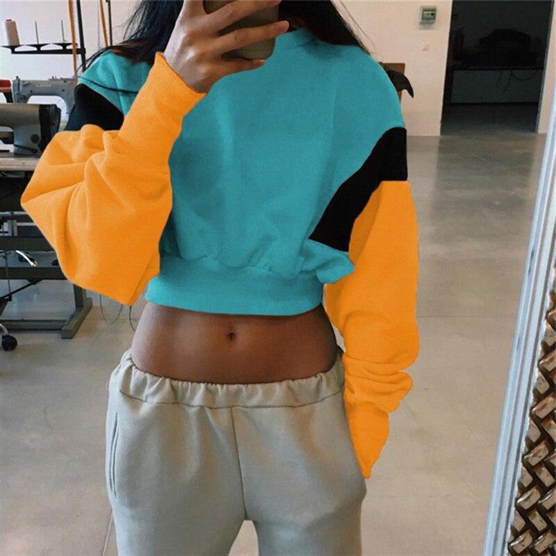NIBESSER 2018 New Women Spring Autumn Cute Pinkycolor Orange Hoodies Casual Long Sleeve Loose Crop Top Sweatshirt Hot Sale