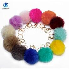 2017 1pcs Fake Fur Brand Bag Keychain 8cm Pompom Car Keyring Golden Chains pompons Fake Fox Rabbit Fur Charms Chain
