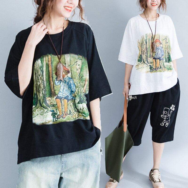 プラスサイズ5xl 2017夏女性ファッション漫画柄プリントコットントップスtシャツレディース女