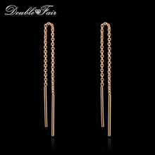 Double Fair OL Style Long Chain Drop/Dangle Earrings Silver/Rose Gold Color Fashion Jewelry Strike Bar Ear Cuff For Women DFE236(China)